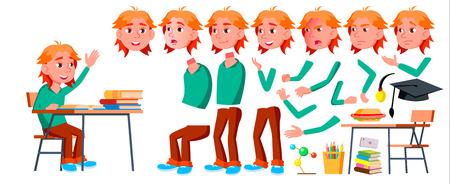Ragazzo Scolaro Kid vettore. Bambino del liceo. Set di creazione di animazioni. Emozioni del viso, gesti. Studente di scuola. Laurea, compiti, insegnante. Per la presentazione, stampa invito design isolato fumetto illustrazione Vettoriali