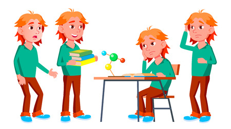 Boy Schoolboy Kid Poses Set Vector. High School Child. Children Study. Smile, Activity, Beautiful. For Web, Brochure, Poster Design. Isolated Cartoon Illustration