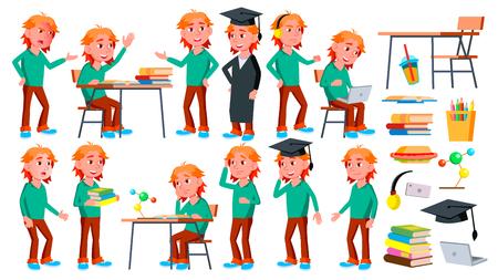 Boy Schoolboy Kid Poses Set Vector. High School Child. Schoolchild. Funny, Friendship, Happiness Enjoyment. For Web, Poster, Booklet Design. Isolated Cartoon Illustration