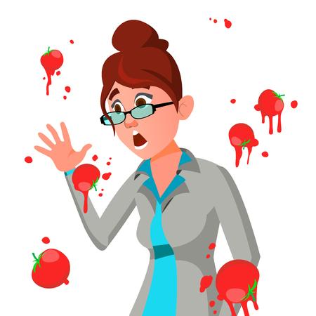 Business Woman Having Tomatoes From Crowd. Fail Speech Vector. Unsuccessful Presentation. Bad Public Speech. European. Isolated Illustration Illustration