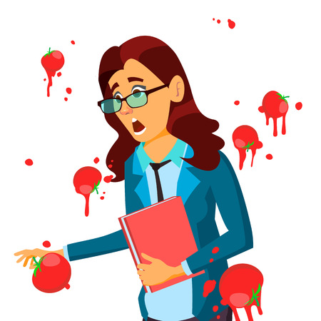 Business Woman Having Tomatoes Fail Speech Vector. Unsuccessful Presentation. Bad Public Speech. European Woman Having Tomatoes From Crowd. Isolated Illustration