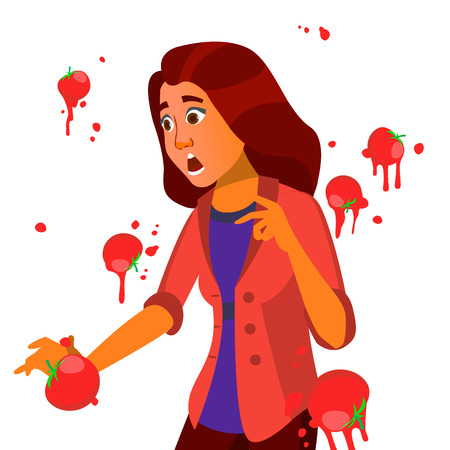 Business Woman Having Tomatoes From Crowd. Fail Speech Vector. Unsuccessful Presentation. Bad Public Speech. European. Isolated Illustration Illustration