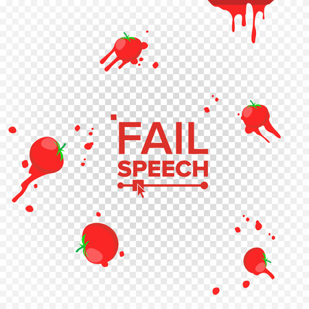 Throw Tomatoes Vector. Having Tomatoes From Crowd. Failure, Bad, Setback, Fiasco, Flop Concept. Isolated Flat Illustration