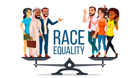 Vector de igualdad racial. De pie sobre escalas. Igualdad de oportunidades, derechos. Concepto de tolerancia a la diversidad. Trozo. Ilustración de dibujos animados plano aislado Ilustración de vector