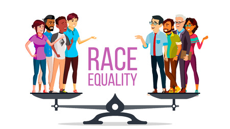 Rassengleichheitsvektor. Auf Waage stehen. Chancengleichheit, Rechte. Diversity Tolerance Concept. Stück. Isolierte flache Karikaturillustration