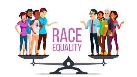 Vector de igualdad racial. De pie sobre escalas. Igualdad de oportunidades, derechos. Concepto de tolerancia a la diversidad. Pedazo. Ilustración de dibujos animados plano aislado