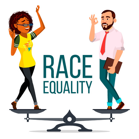 Race Equality Vector. Standing On Scales. Equal Opportunity. No Racism. Different Race Together. Tolerance. Isolated Flat Cartoon Illustration Illustration