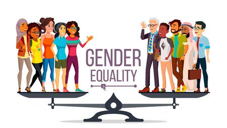 Vector de igualdad de género. Hombre de negocios, mujer de negocios. Igualdad de oportunidades, derechos. Hombre y mujer. De pie sobre escalas. Ilustración de dibujos animados plano aislado