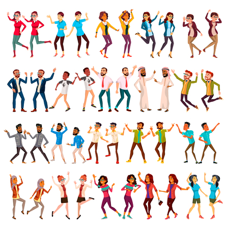 Les gens dansent le vecteur. Célébrer les danses. Les gens qui dansent bougent. Fête de vacances de vacances. Les gens qui écoutent de la musique. Poses de danseur heureux. Illustration de dessin animé