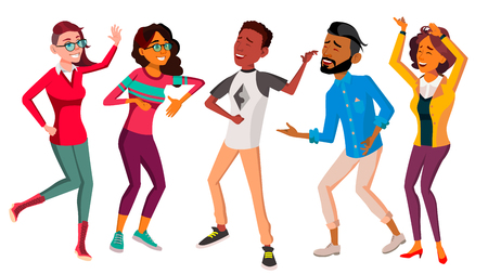 Dancing People Set Vector. Holiday Vacation Party. People Listening To Music. Isolated Flat Cartoon Illustration Illusztráció