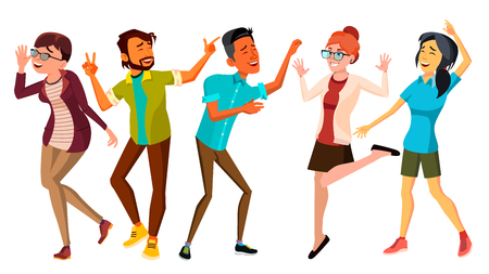 Dancing People Set Vector. Adult Persons In Action. Character Design. Isolated Flat Cartoon Illustration Illustration