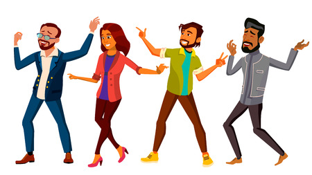 Dancing People Set Vector. Happy Dancer Poses. Retro Disco Party. Isolated Flat Cartoon Illustration Stock Illustratie