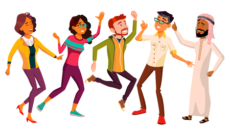 Dancing People Set Vector. Active Woman, Man. Important Event. Isolated Flat Cartoon Illustration Vetores
