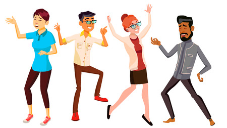 Dancing People Set Vector. Funny And Friendly. Joyful Emotions. Isolated Flat Cartoon Illustration