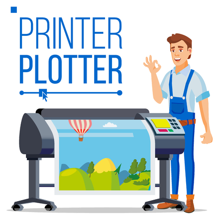 Worker With Plotter Vector. Man. Large Format Multifunction Printer. Polygraphy Service. Isolated Flat Cartoon Illustration