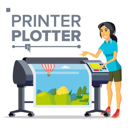 Arbeiter mit Plotter-Vektor. Frau. Druckt schönes Bild, Banner. Druckservice. Isolierte flache Cartoon-Illustration
