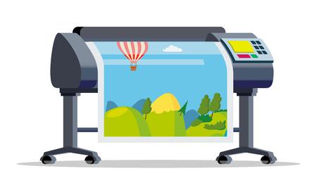 Plotter, Printer Vector. Large Format Multifunction Printer. Polygraphy, Printshop Service. Isolated Cartoon Illustration