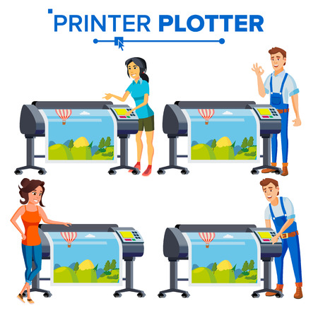 Workers With Plotter Set Vector. Woman, Man. Prints Beautiful Picture, Banner. Print Service. Large Format Multifunction Printer. Polygraphy. Full Color, Laser Printer Printshop Illustration