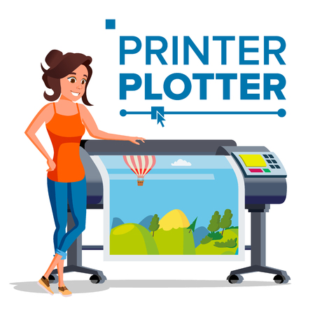 Worker With Plotter Vector. Woman. Full Color Latex, Laser Printer. Printshop Service. Isolated Flat Cartoon Illustration Vettoriali