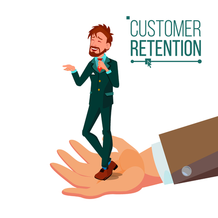 Customer Retention Vector. Businessman Hand With Man Client. Customer Care. Save Loyalty. Support And Service. Cartoon Illustration 矢量图像
