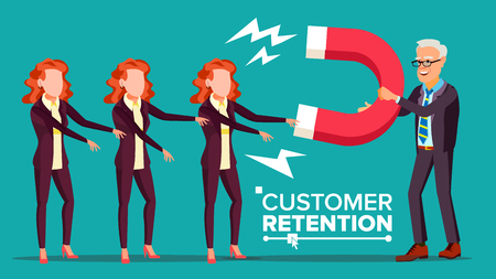 Customer Retention Vector. Businessman With Giant Magnet Attracts Client Woman. Success Strategy, Customer Attraction. Flat Cartoon Illustration