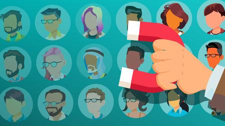 Customer Retention Vector. Businessman Hand With Giant Magnet. Relationship, Marketing Segmentation. Returning Client. Customer Loyalty, Support. Flat Cartoon Illustration