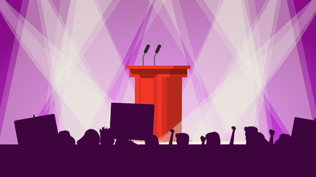 Political Meeting Audience Vector. Empty Tribune. People Crowd With Support Banners. Cartoon Illustration