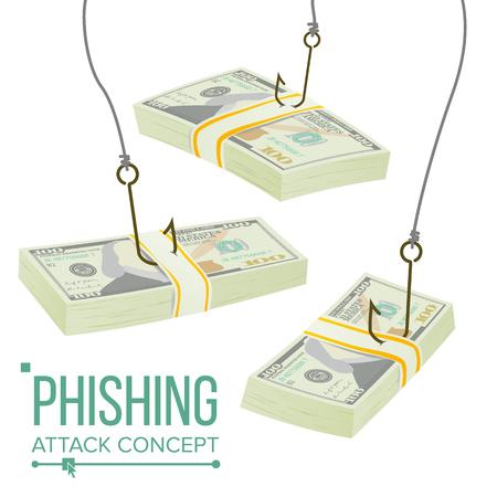 Phishing Money Concept Vector. Fraud Theft Protection. Leakage Information. Economic Crisis. Cartoon Illustration