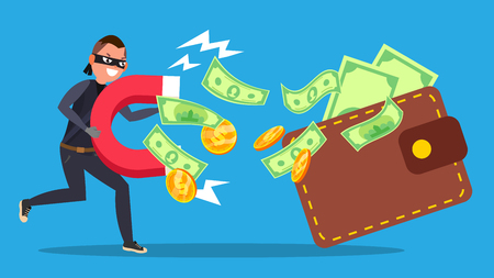 Phishing Money Concept Vector. Virus, Spam. Stealing Money Cartoon Illustration