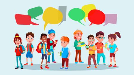 Gruppo di alunni vettore. Scuola. Rete sociale. Mix Race. Bolle di chat. Discutendo. Brainstorming. Parlando di comunicazione piatto fumetto illustrazione
