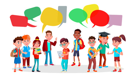 Group Of Pupils Vector. School. Discussing. Brainstorming. Talking Communication. Mix Race. Chat Bubbles Flat Cartoon Illustration