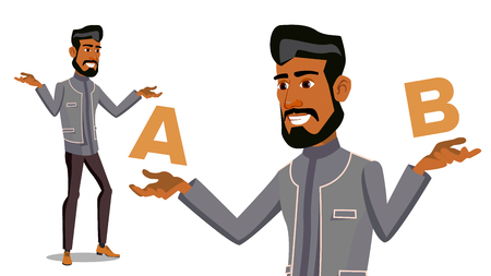 Arab Man Comparing A With B Vector. Balance Of Mind And Emotions. Client Choice. Compare Objects, Ways, Ideas.Isolated Cartoon Illustration