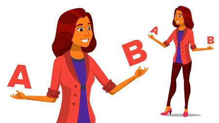 European Woman Comparing A With B Vector. Creative Idea. Balancing. Customer Review. Compare Objects, Purchases, Ideas, Strategies. Isolated Cartoon Illustration