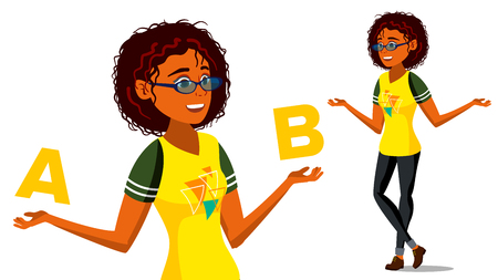 Afro american Woman Comparing A With B Vector. Balance Of Mind And Emotions. Client Choice. Compare Objects, Ways, Ideas. Isolated Cartoon Illustration