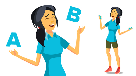 Asian Woman Comparing A With B Vector. Creative Idea. Balancing. Customer Review. Isolated Cartoon Illustration