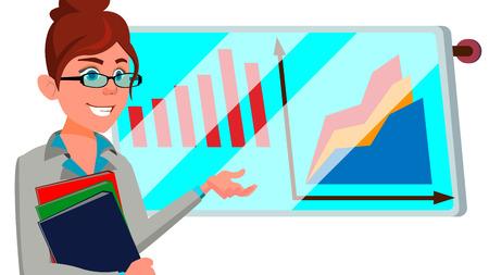 Broker Female Vector. Stock-market Broker. Charts, Data Analyses. Trading Stocks Online. Computer Screen. Traders Office. Business Success. Flat Cartoon Illustration
