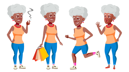 Old Woman Poses Set Vector. Black. Afro American. Elderly People. Senior Person. Aged. Comic Pensioner. Lifestyle. Postcard, Cover Placard Design Isolated Cartoon Illustration Vektorové ilustrace