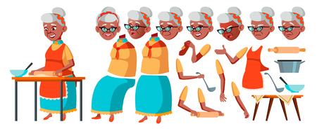 Old Woman Vector. Senior Person Portrait. Elderly People. Aged. Black. Afro American. Animation Creation Set. Face Emotions, Gestures. Comic Pensioner Lifestyle Animated Illustration