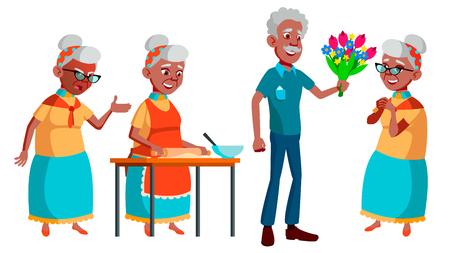 Old Woman Poses Set Vector. Black. Afro American. Elderly People. Senior Person. Aged. Active Grandparent. Joy. Presentation, Print Invitation Design Isolated Cartoon Illustration Illustration