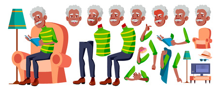Old Man Vector. Black. Afro American. Senior Person Portrait. Elderly People. Aged. Animation Creation Set. Face Emotions, Gestures. Comic Pensioner Lifestyle Animated Cartoon Illustration