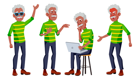 Old Man Poses Set Vector. Black. Afro American. Elderly People. Senior Person. Aged. Caucasian Retiree. Smile. Advertisement, Greeting Announcement Design Isolated Cartoon Illustration Illustration