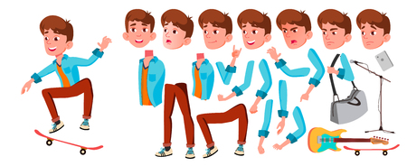 Teen Boy Vector. Animation Creation Set. Face Emotions, Gestures. Caucasian, Positive. Animated. For Banner, Flyer Web Isolated Cartoon Illustration