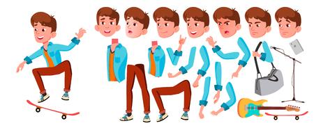 Vector de muchacho adolescente. Conjunto de creación de animación. Enfrentar emociones, gestos. Caucásico, Positivo. Animado. Para Banner, Flyer Web Ilustración de dibujos animados aislados
