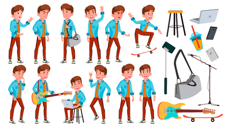 Teen Boy Poses Set Vector. Face. Children. For Web, Brochure, Poster Design. Isolated Cartoon Illustration