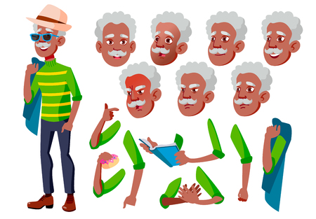 Old Man Vector. Senior Person. Black. Afro American. Aged, Elderly People. Face Emotions, Various Gestures. Animation Creation Set. Isolated Flat Cartoon Character Illustration