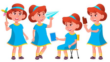 Girl Kindergarten Kid Poses Set Vector. Kiddy, Child Expression. Junior. For Postcard, Cover, Placard Design. Isolated Cartoon Illustration
