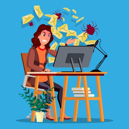 Spam Virus Concept Vector. Woman. Internet Technology. Online Mail Attack. Hack Information. Web Crime. Danger E-mail. Fraud Protect. Flat Cartoon Illustration
