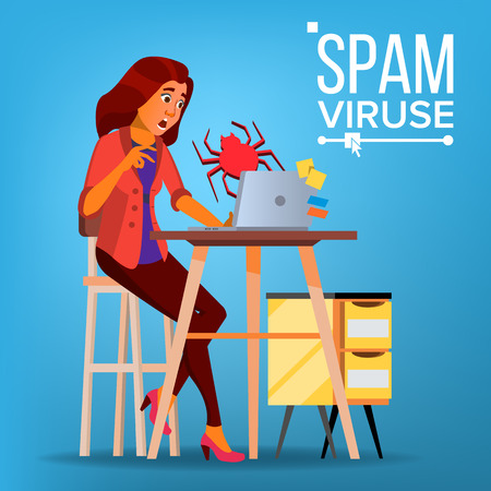 Spam Virus Concept Vector. Woman. Internet Security. Hacker Online. Data Protection. Cyber Safety. E-mail Alert. Trojan Protect. Flat Cartoon Illustration 向量圖像