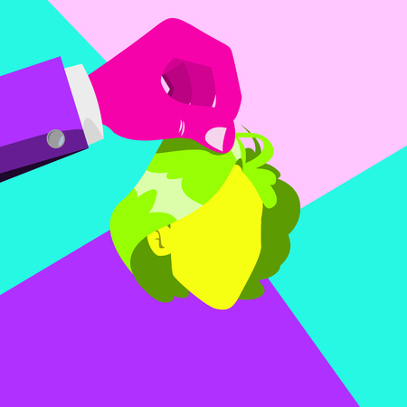 Minimal Surreal Hand Vector. Psychedelic Background. Stylish Fantasy. Trendy Summer Colors. Creative Surrealism People. Flat Illustration