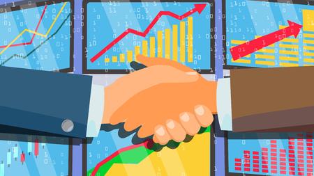 Handshake Concept Vector. Happy Partnership. Success Deal. Financial Technology. Flat Illustration